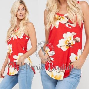 Summers Red Floral Tank Top